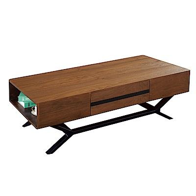 品家居 卡畢斯4.3尺胡桃木紋二抽大茶几-130x70x45cm免組
