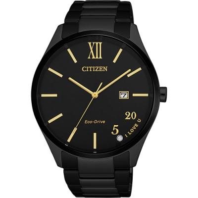 CITIZEN 星辰 光動能520愛戀手錶-金時標/41.5mm(BM7357-87E)