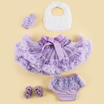 日安朵朵 女嬰童蓬蓬裙彌月週歲禮盒組 - 豪華小公主長髮公主(裙+圍兜+屁屁褲+寶寶襪)