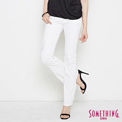 SOMETHING NEO修身基本靴型褲-女-白色