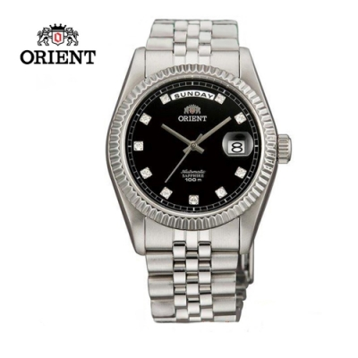ORIENT 東方錶 WILD CALENDAR系列 蠔式型機械錶 鋼帶款 黑色 SEV0J003B