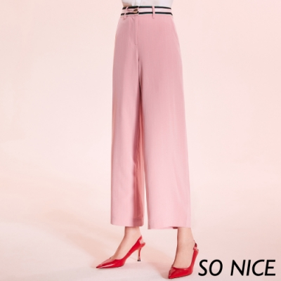 SO NICE優雅俐落條紋寬褲
