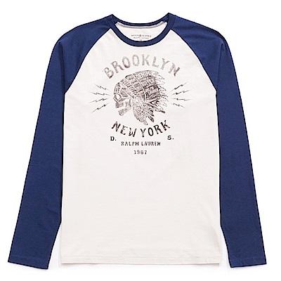 Polo Rlaph Lauren D&S系列 印第安印刷長袖T恤-米白