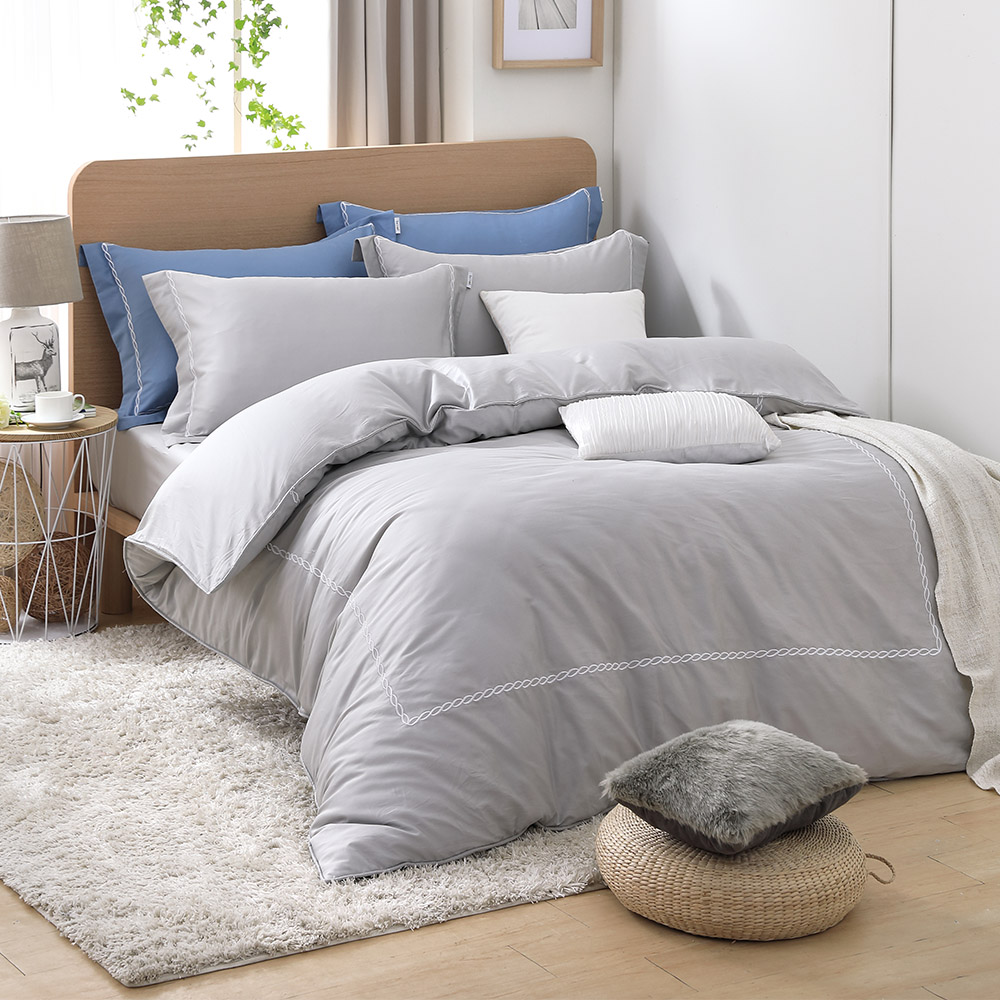 LASOL睡眠屋-300織刺繡設計款精梳棉 雙人兩用被床包四件組 典雅灰