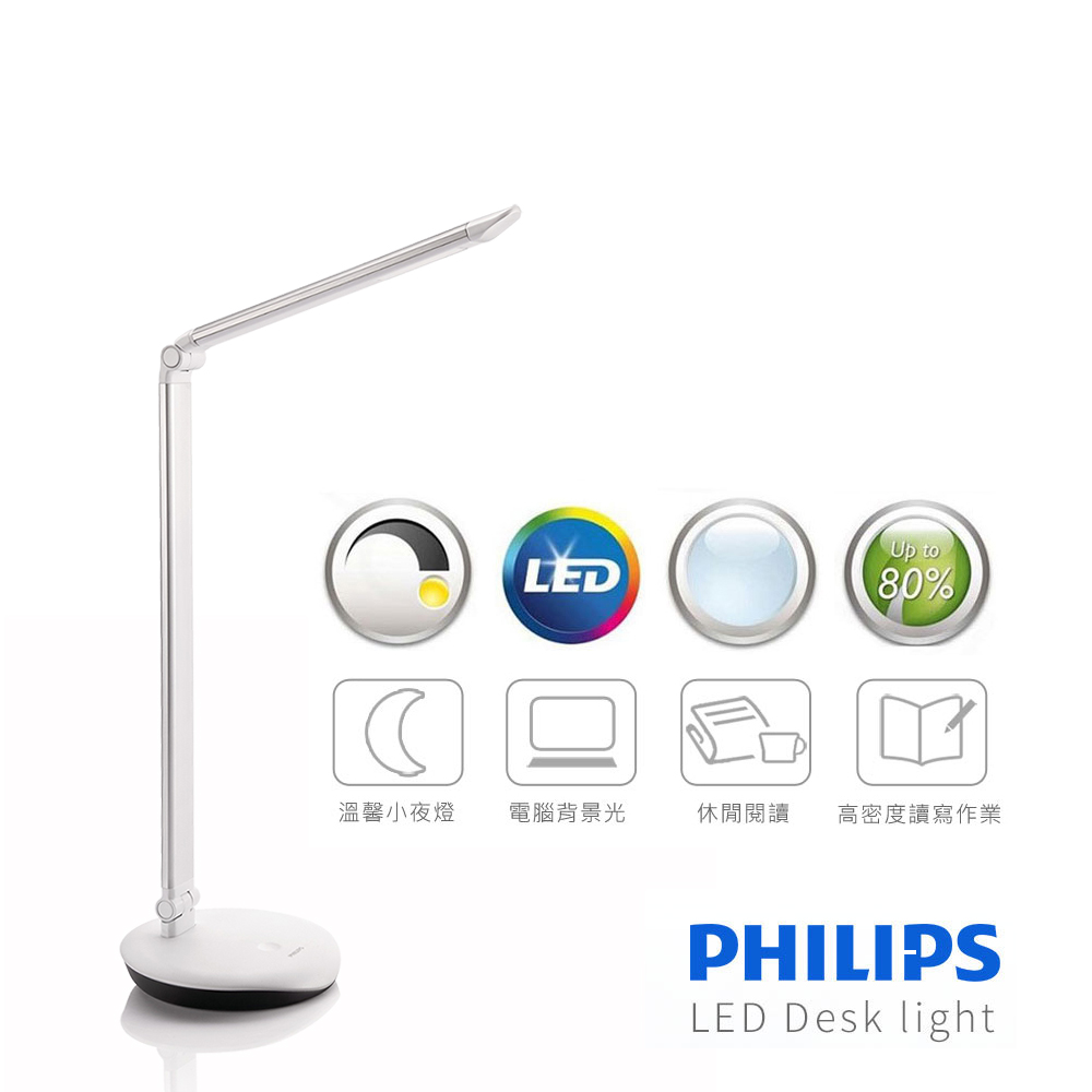【飛利浦 PHILIPS LIGHTING】LEVER酷恆LED檯燈(銀色)72007