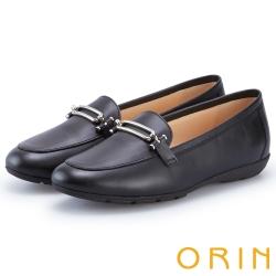 ORIN 質感金屬釦牛皮平底樂福鞋 黑色