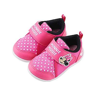 迪士尼 米妮 點點造型 魔鬼氈學步鞋-桃
