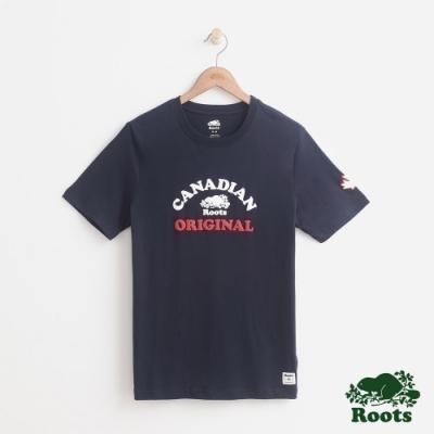 男裝Roots 原創加拿大短袖T恤-藍