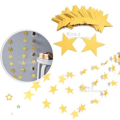 升級加長4M金色星星拉旗/三角旗/掛旗/串旗 櫥窗裝飾/派對房間居家佈置 kiret