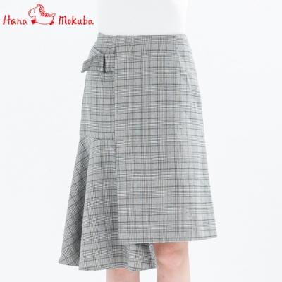 Hana-Mokuba-花木馬日系女裝不對稱拼接半身裙_卡駝/灰格
