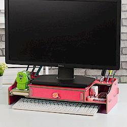 半島良品 多功能DIY木質電腦螢幕架 大抽-西瓜紅