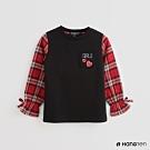 Hang Ten -童裝 - 格紋拼接背心假兩件上衣 - 黑