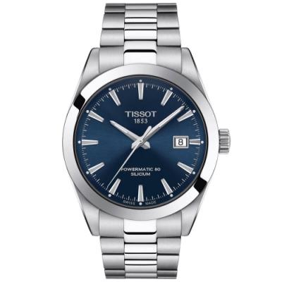 Tissot Gentleman 天梭紳士系列矽游絲動力80正裝腕錶-41mm 藍