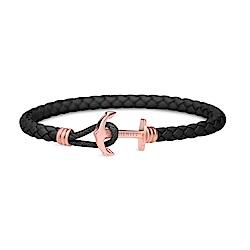 PAUL HEWITT德國出品 黑色皮革單圈編織 玫瑰金船錨 手環手鍊