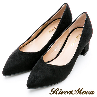 River&Moon大尺碼-素面麂皮絨質感OL上班鞋中跟鞋-黑