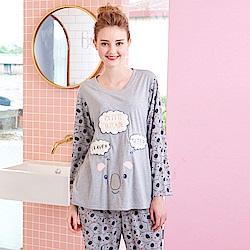 睡衣 毛絨絨無尾熊 針織棉長袖兩件式睡衣(R77203-6麻灰) 蕾妮塔塔