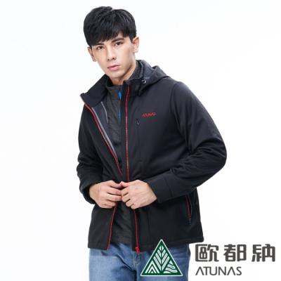 【ATUNAS 歐都納】男款抗風SoftShell刷毛保暖外套A1-G1835M黑