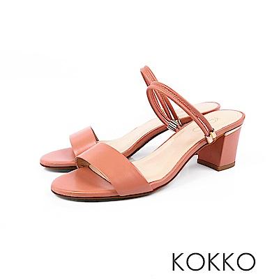 KOKKO - 簡單生活線條感真皮高跟涼鞋 - 珊瑚橘