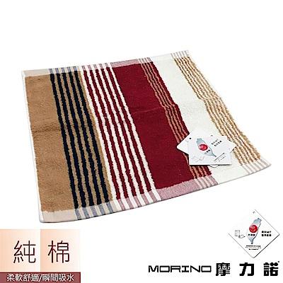 MORINO摩力諾 純棉彩條緹花方巾/手帕- 紅紋