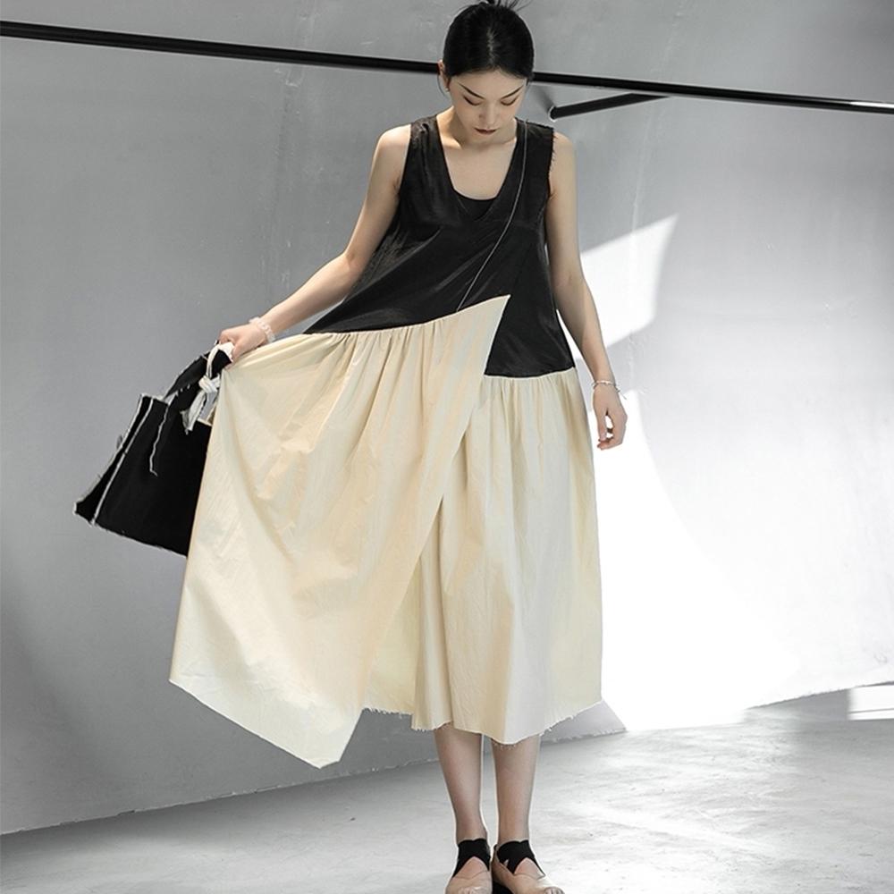 設計所在Style-夏暗黑風割邊明線拼色仙女顯瘦背心洋裝