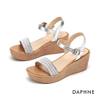 達芙妮DAPHNE 涼鞋-細緻閃亮水鑽一字厚底楔型涼鞋-銀色