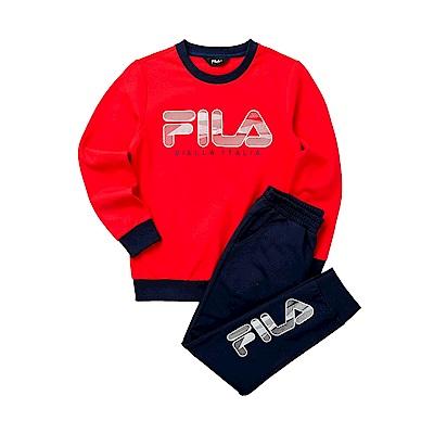 FILA KIDS 童長袖針織套裝-紅色 1WTT-8905-RD