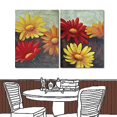 橙品油畫布 兩聯無框掛畫-三朵花30x40cm