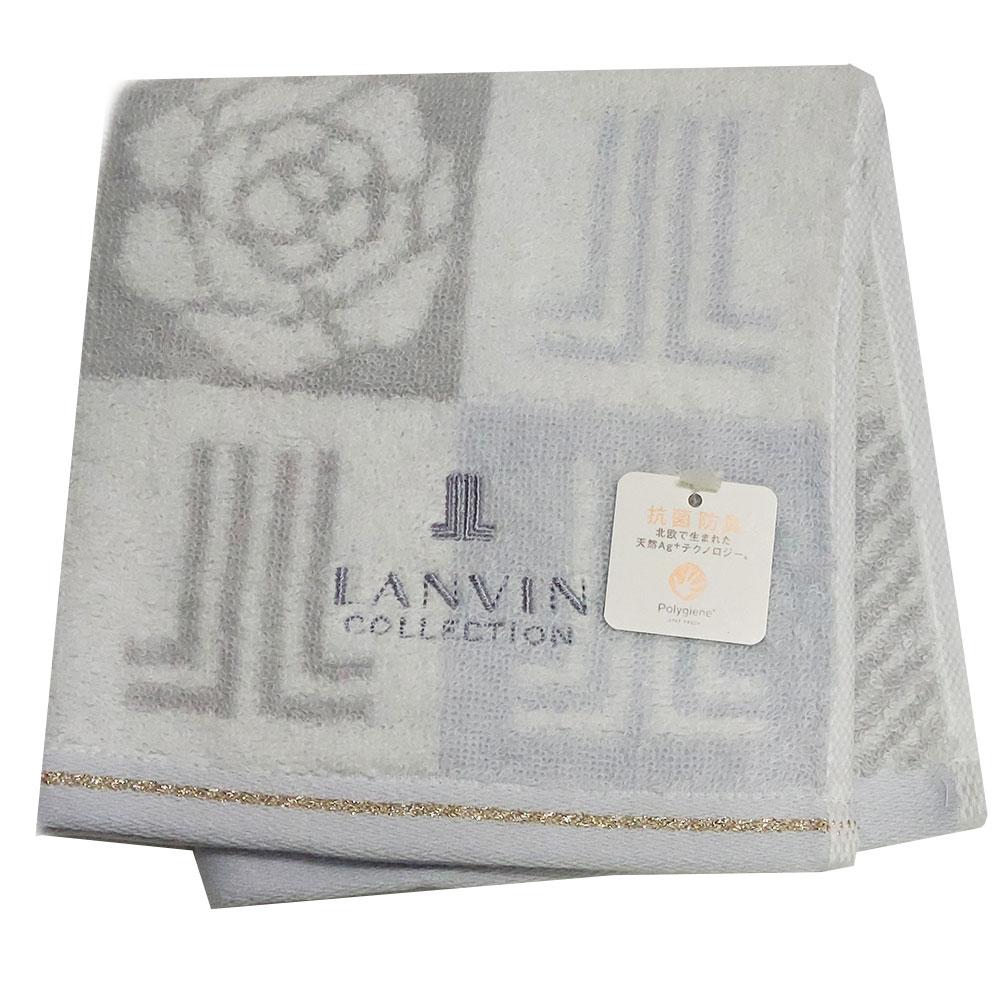 LANVIN 方格玫瑰品牌圖騰LOGO刺繡正方巾(灰色系)