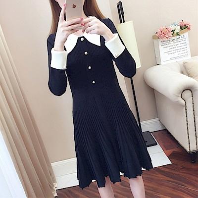DABI 韓系名媛時尚修身褶皺針織毛衣長袖洋裝