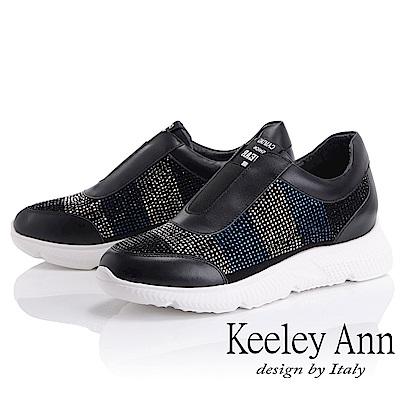 Keeley Ann 簡約舒適~雙色水鑽真皮軟墊休閒鞋(黑色-Ann)