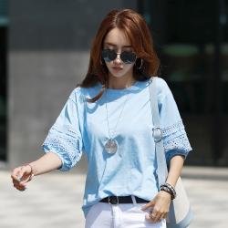 正韓 圓領鏤空蕾絲公主袖T恤 (共四色)-N.C21