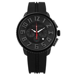 Tendence 天勢表 立體刻度酷黑三眼日期防水矽膠手錶-黑色/46mm
