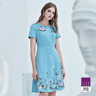 ILEY伊蕾 修身花草刺繡緞面洋裝(藍)