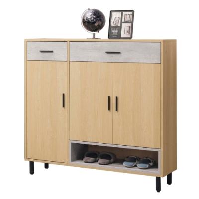 文創集 哈根現代4尺三門二抽鞋櫃/玄關櫃-120x36x118cm免組