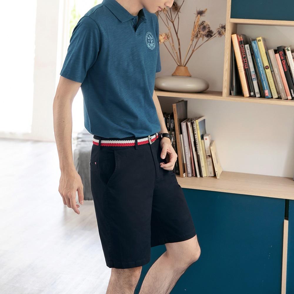 高含棉素色休閒短褲-OB嚴選