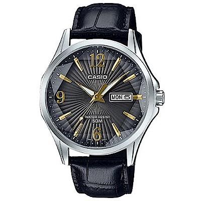 CASIO立體多面切割簡約風格皮帶錶-黑(MTP-E120LY-1A)/47.5mm
