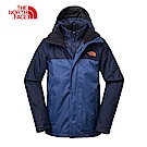 The North Face北面男款藍色保暖三合一外套|3CGMLKM