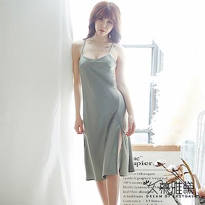 性感睡衣 優雅簡約交叉露背吊帶長裙。淺綠色 久慕雅黛
