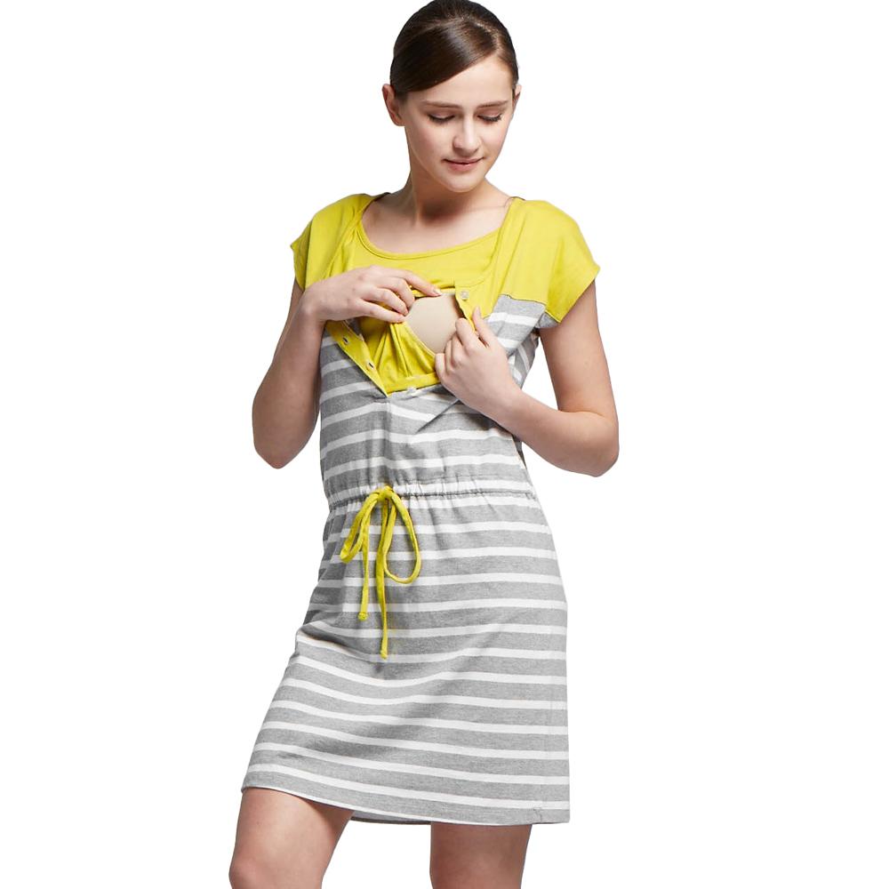 孕婦裝 哺乳衣 棉質色條拼接抽繩長版洋裝(共二色) Mamaway
