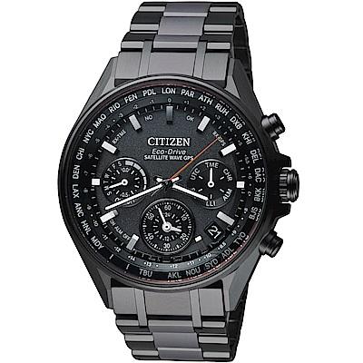 CITIZEN星辰 GPS 衛星對時鈦金屬廣告款腕錶(CC4004-58E)-灰黑