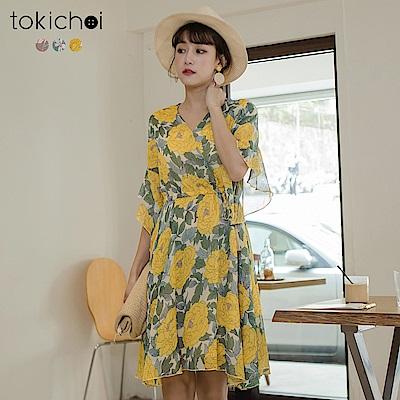 東京著衣 多色甜美荷葉袖綁帶洋裝(共三色)