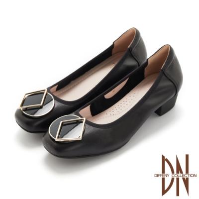 DN跟鞋_素面真皮氣質幾何飾扣低跟鞋-黑