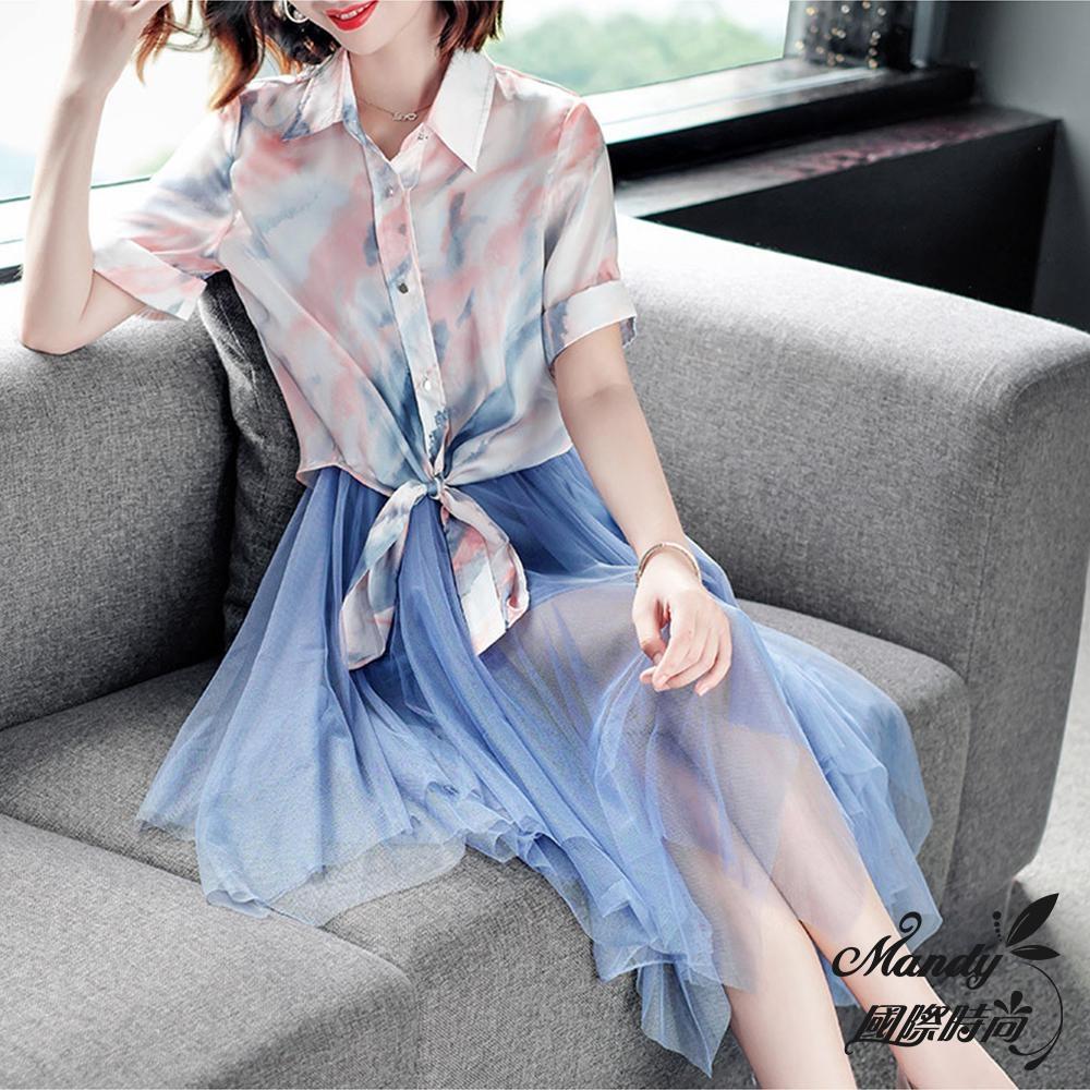 Mandy國際時尚 二件套組 水墨印染上衣+吊帶網紗連身洋裝_預購【歐美服飾】