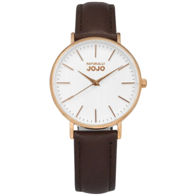 NATURALLY JOJO / 簡約木紋 藍寶石水晶玻璃 真皮手錶-白x玫瑰金框x咖啡/34mm