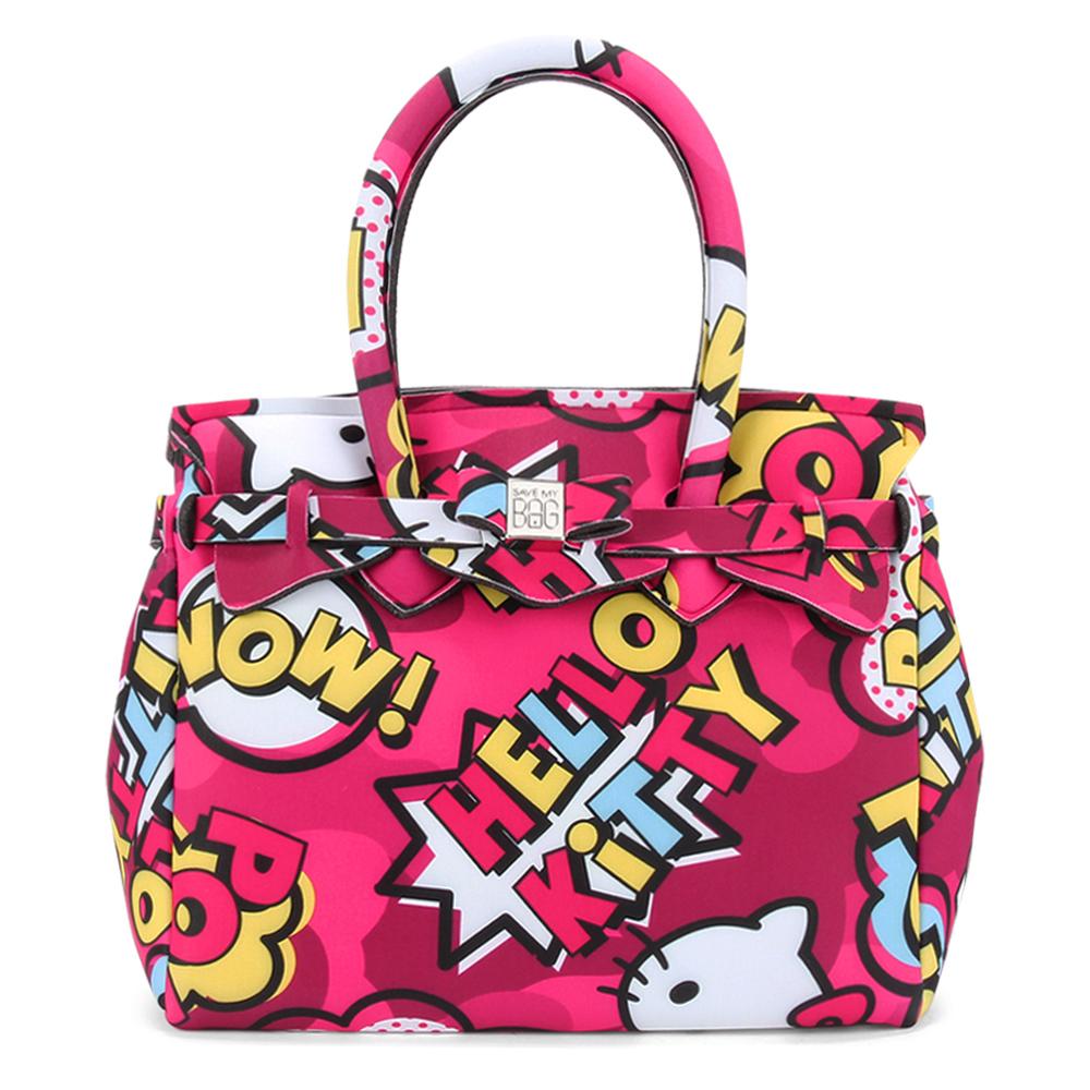 SAVE MY BAG Petite Miss系列Hello Kitty輕量托特包-桃紅色