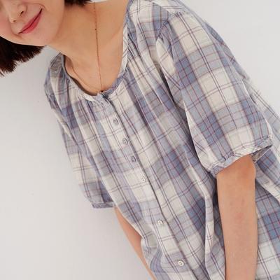 慢 生活 淺色格子圓領襯衫- 藍/粉紅