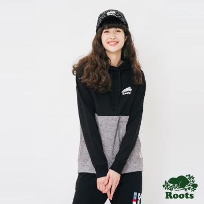 ROOTS女裝-撞色刷毛連帽上衣-黑色
