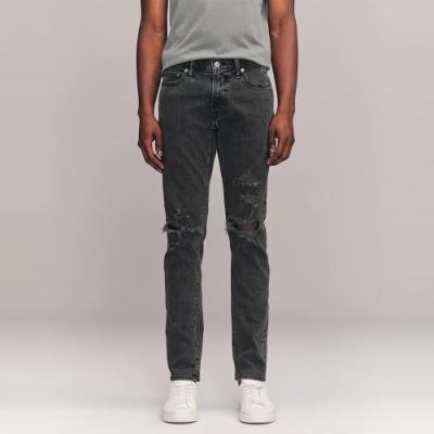 A&F 麋鹿 經典破壞設計窄管牛仔長褲SKINNY(男)-深灰色
