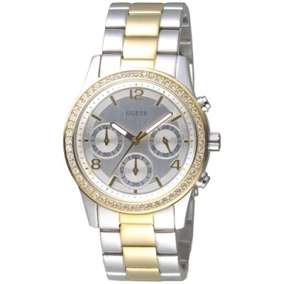 GUESS 完美主義三眼碼錶計時手錶-中金-GWW0122L2-38mm