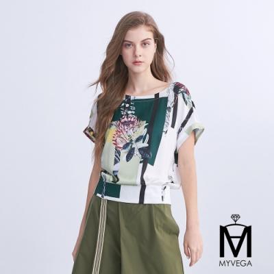 麥雪爾 MA蓮花拼接色塊鬆緊印花上衣